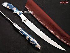 "15"" Handmade Cutting D2 steel Fishing Knife Damascus Bolster Resin Sheet HandlE"