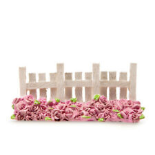 Miniature Dollhouse FAIRY GARDEN - Fence - White with Rose Bed - Accessories
