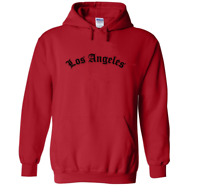Red Los Angeles Old English Hoodie Thug Life Arched Pull Over Hooded Sweatshirt
