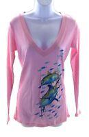 Guy Harvey T Shirt Womens Pink Long Sleeve V Neck