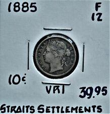1885 Straits Settlements 10 cents F-12