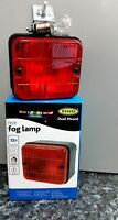 12v Car/Van/Trailer Approved Square Rear Red Fog Light Ring Dual Mount Inc Bulb
