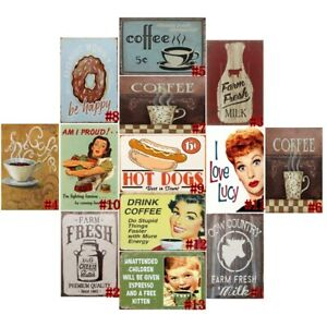 Drink Coffee Retro Metal Tin Signs Poster Plate Cafe Art Wall Decor 7.8*11.8""