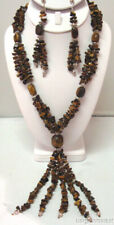 Genuine Long Tiger Eye Gemstone Necklace Dangle Earrings Set