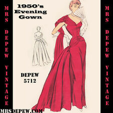 Vintage Sewing Pattern 1950's Evening or Wedding Gown in Any Size Depew #5712