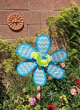 Windmill Blue / White  Wind Spinner Colorful Outdoor Garden Decoration  Large Ne