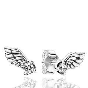 925 Sterling Silver Whit Gold sparkling angel wing Earrings Turkish Jewelry