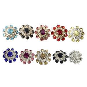 5X Rhinestones Shank Buttons Sewing Wedding Decoration DIY Diamante Crystal Bows