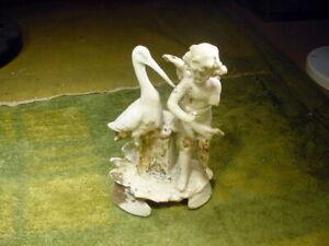 excavated vintage unpainted damaged doll parts with stork German age 1890 14747