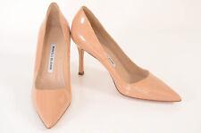 Manolo Blahnik nude 8 38 patent leather point toe slip on pump shoe NEW $595