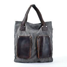 CLELO Vintage Hobo Canvas Genuine Leather Shoulder Bag Handbag Grey