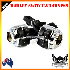 """Chrome Motorcycle 1"""" Handlebar Control Switche + Wiring Harness Harley dyna vrod"""