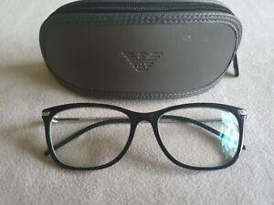 Emporio Armani black / silver glasses frames. EA 3062 5017. With case