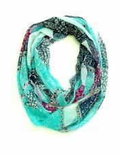 J Jill Infinity Scarf Green Blue Magenta Print NEW Lightweight Rayon Fringed