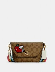 Coach X Peanuts Karlee Crossbody In Signature Canvas With Snoopy NWT $350