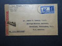 India 1944 Censor Cover to USA Via SS Explorer - Z10807