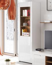 Calvino High Gloss White& Walnut Tall Display Cabinet Unit Lounge Furniture B10L