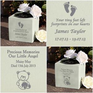 PERSONALISED MEMORIAL VASE GARDEN PLAQUE GRAVE ORNAMENT BABY CHILD SON DAUGHTER