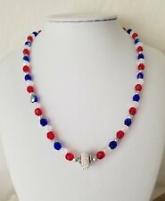 Red White And Blue Beaded Necklace Made With Czech Crystals And A Swarovski Bead