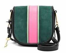 👀 NWT Fossil Women's Rumi Crossbody Leather Suede Handbag Alpine Green Saddle