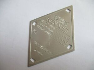 Nameplate Renault Shield R4 R5 R6 R16 R8 R10 Dauphine 4cv Id-Plate Day s66