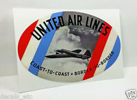 United Air Lines Vintage Style Travel Decal / Vinyl Sticker, Luggage Label
