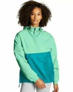 NWT Champion Sea Green & Teal 1/4 Zip Pull Over Water Wind Resistant Jacket XL