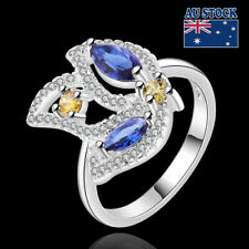 Women's Blue Crystal 925 Sterling Silver Filled Engagement Wedding Ring Size 8