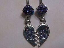 Best Friends dangle 14g belly navel button ring w/ purple cz stone u.s. seller