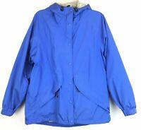 L.L. Bean Outdoors Sz M Womens Jacket Hooded Lined Full Zip Blue Pockets Medium