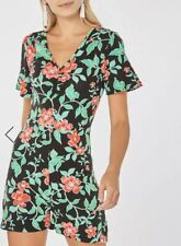 CL19# Dorothy Perkins Black And Pink Ditsy Floral Playsuit Uk 10