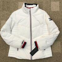Tommy Hilfiger Womens Short Puffer Jacket White Size XS Warm Winter Coat