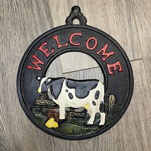 Cast Iron Cow Welcome Sign Farmhouse Decor