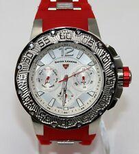 Swiss Legend Men's Ultrasonic Watch Red Silver Quartz Chronograph 14096SM-02-RDS