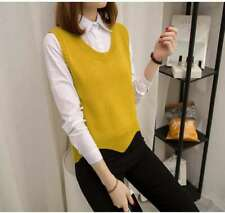 147 Korean Women's Fashion Pullover Sweater Knit Vest Top Yellow