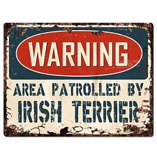 Pp2433 Warning Area Patrolled By Irish Terrier Chic Sign Home Store Decor