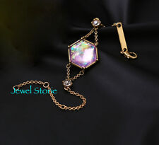 NEW Vintage Style Blush Stone Iridescent Gem Chain Bracelet Antique Gold Tone