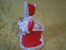 Vintage Christmas Planter/Figurine Napco Girl Bearing Gifts Spaghetti Trim