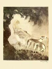 Icart Greyhounds Dogs Lady 20x30 Gust of Wind Art Deco Repro FREE SHIP in USA