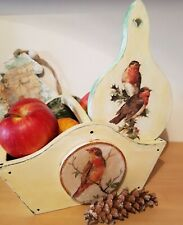 Rostic wooden basket with handle hand painted,dequpaged Vintage,Christmas gift,
