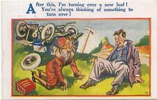 Comic Car Car Crash turning over a New leaf Artist S H HB 4537