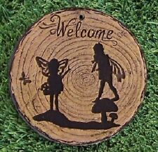 "Garden Path Stepping Stone Wall Plaque Welcome Fairies NEW 6"" A"