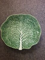 """BORDALLO PINHEIRO GREEN CABBAGE LEAF MAJOLICA POTTERY FOOTED SERVING BOWL 11.25"""""""