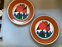 "2 VINTAGE MMA 1993 CLARICE CLIFF EXHIBIT DINNER PLATES 10.25"" COLORFUL ORANGE"