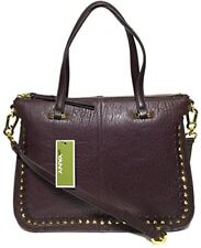NWT orYANY Woman's Leather/Suede Satchel Eggplant Adjustable Strap MSRP: $489.00