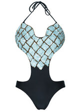 Aguaclara S/UK8 Hand-Embellished Black One Piece Designer Swimsuit RRP £160