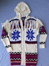 $998 Polo Ralph Lauren Zip Cardigan Sweater Womens MEDIUM Hooded Fair Isle NWT
