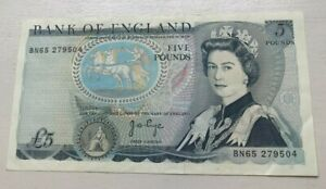 1973-80 Bank of England 5 Pounds JB Page P#378b - World Currency Banknote