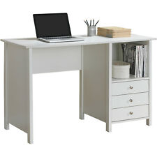 Contemporary White Large Computer Desk Writing Table with 3 Storage Drawers Home
