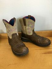 Ariat Fatbaby Cowboy Ostrich Print Leather Lime Western Boots Women's Size 10 B